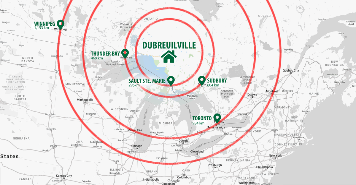 Radius map of cities from Dubreuilville